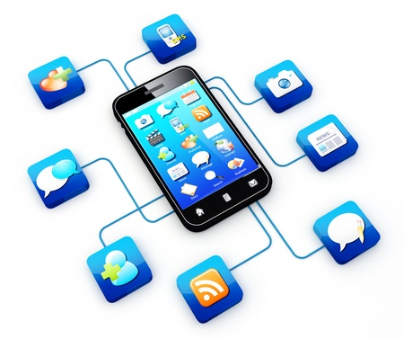 Smartphone connected to application icons   Note: All Devices design and all screen interface graphics in this series are designed by the contributor him self. Stock Photo