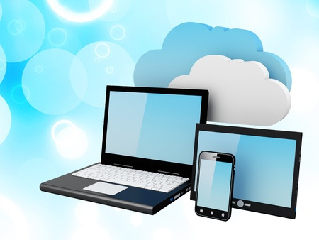 contributor: Home Electronic Devices connected to cloud server Note  All Devices design and all screen interface graphics in this series are designed by the contributor him self  Stock Photo
