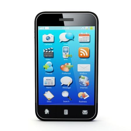 mobiele telefoons: 3D illustratie van generieke smartphone Opmerking Alle apparaten design en alle screen interface afbeeldingen in deze serie zijn ontworpen door de inbrenger hem zelf