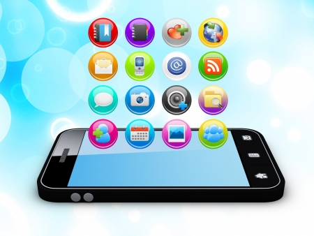 Smartphone with cloud of application icons Note  All Devices design and all screen interface graphics in this series are designed by the contributor him self Stock Photo - 13762261