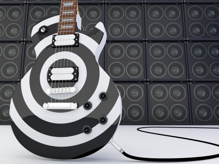 Electric guitar with a group of Speakers  3D render photo