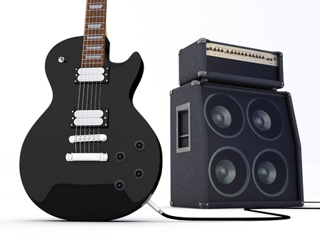 Electric guitar with amplifier  3D render photo