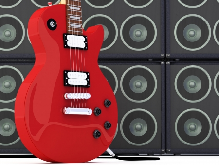 superdirecta: Guitarra el�ctrica con un grupo de oradores de render 3D