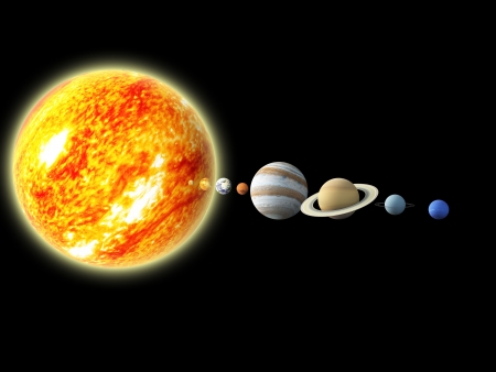 Illustration of our solar system  - 3D REnder Maps from http   planetpixelemporium com  Stock Illustration - 13914787