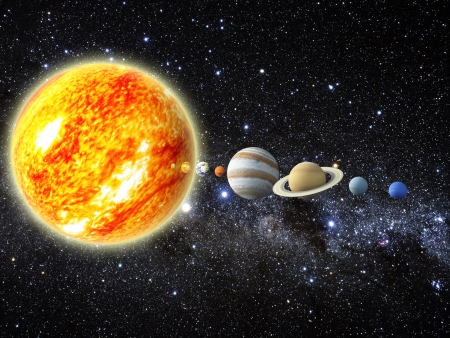 orbiting: Illustration of our solar system  - 3D REnder Maps from http   planetpixelemporium com