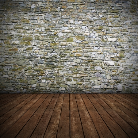 Empty interior with stone wall - 3D render photo