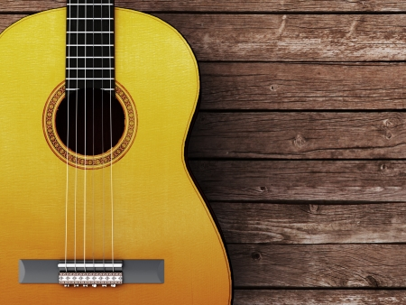 bluegrass: Acoustic guitar on wood background - 3D Render
