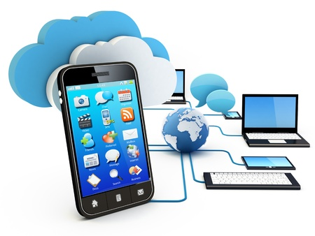 Smartphone and Home Electronic Devices connected to cloud server.  Note: All Devices design and all screen interface graphics in this series are designed by the contributor him self. photo
