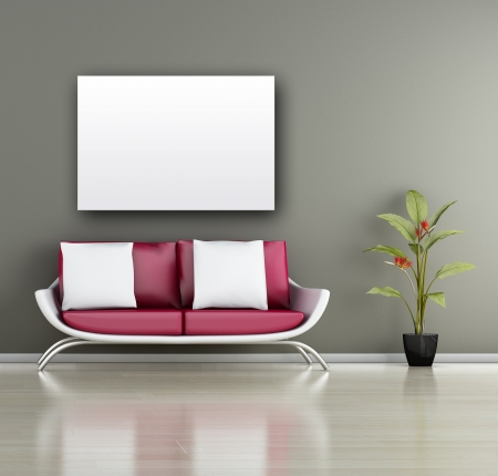 Modern interior (3D render) - Living room Stock Photo