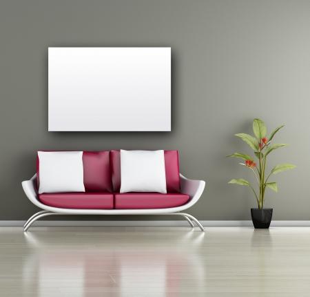 Modernes Interieur (3D render) - Wohnzimmer Standard-Bild - 14412688