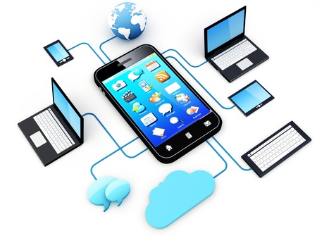 Smartphone and Home Electronic Devices connected to cloud server.  Note: All Devices design and all screen interface graphics in this series are designed by the contributor him self.