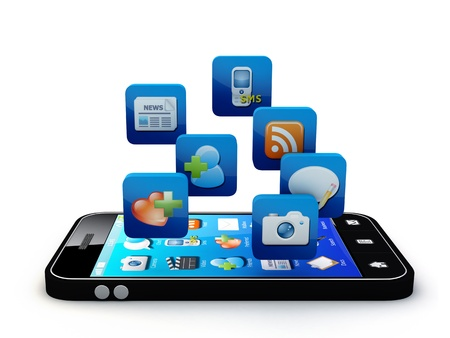 application icons: Smartphone with cloud of application icons  Note: All Devices design and all screen interface graphics in this series are designed by the contributor him self. Stock Photo