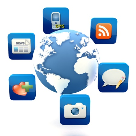 Globe with cloud of application icons 