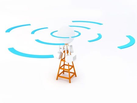 mast cell: A cell site is a term used to describe a site where antennas and electronic communications equipment are placed, usually on a radio mast, tower or other high place, to create a cell (or adjacent cells) in a cellular network.  Note: All Devices design and  Stock Photo