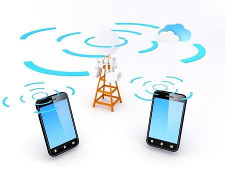 Zellulares Netzwerk oder aus dem Mobilfunknetz eine Funknetzwerk über Land, genannt Zellen verteilt, das jeden von wenigstens einem ortsfesten Transceiver als Zellenstandort bzw. Basisstation bekannt. In einem zellularen Netzwerk verwendet jede Zelle eine andere Gruppe von freque Standard-Bild - 14506639