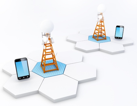 radio mast: A cell site is a term used to describe a site where antennas and electronic communications equipment are placed, usually on a radio mast, tower or other high place, to create a cell (or adjacent cells) in a cellular network. Note: All Devices design and a Stock Photo