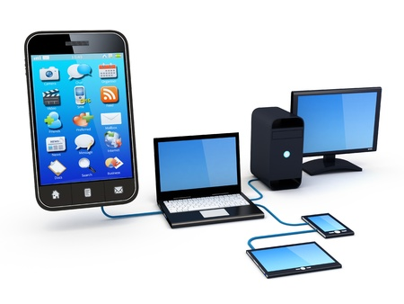 netbooks: Smartphone and Home Electronic Devices connected to network  Stock Photo