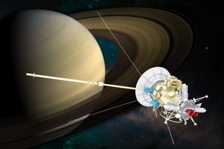Artist concept of spacecraft at Saturn Stock Photo - 15770343