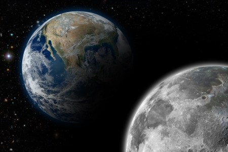 Illustration of the planet earth and its moon Stock Illustration - 15820838