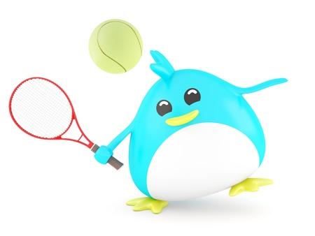 fat bird: Fat tennis player bird - 3D Render Stock Photo