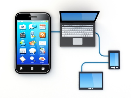 netbooks: Smartphone and Home Electronic Devices connected to network.