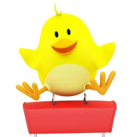 Little chick gymnast performing on pommel horse - 3D render Stock Photo - 16052901