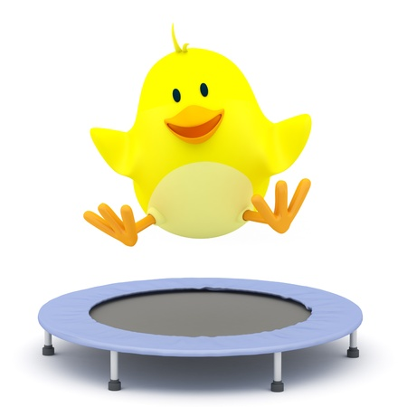 Little chick  jumping on Trampoline - 3D render