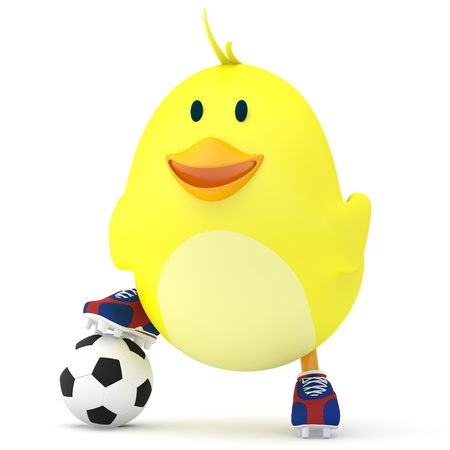 baby chicken: Little soccer player chick on white - 3D render
