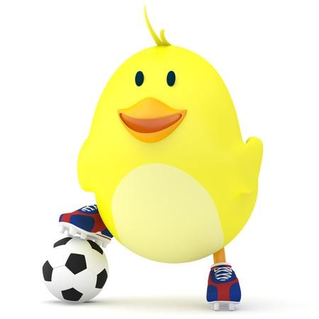 animalitos tiernos: Poco futbolista chica en blanco - 3D render