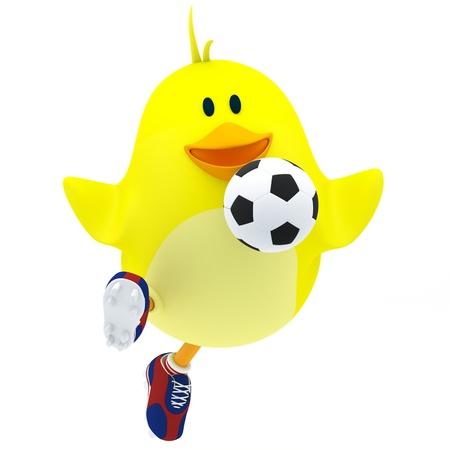Little soccer player chick on white - 3D render photo