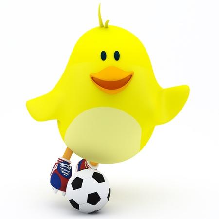 Little soccer player chick on white - 3D render Stock Photo - 16052855