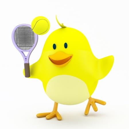 tennis racquet: Little tennis player chick on white - 3D render