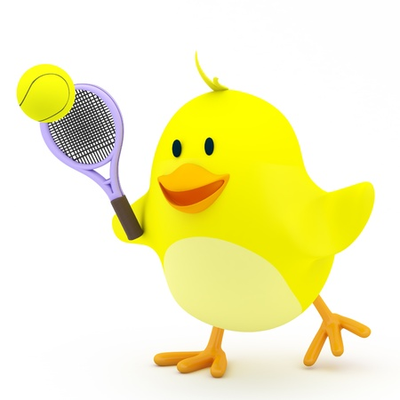 Little tennis player chick on white - 3D render