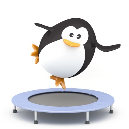 rebounding: Fat penguin jumping on Trampoline - 3D render Stock Photo