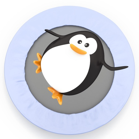 Fat penguin jumping on Trampoline - 3D render Stock Photo