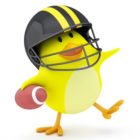 sports shell: Little american football player chick on white - 3D render