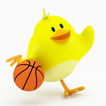 small basket: Little basketball player chick on white - 3D render