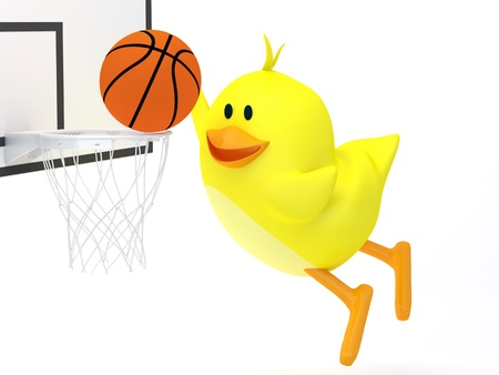 basketball cartoon: Little basketball player chick on white - 3D render