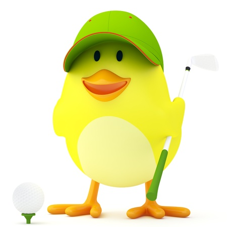 golf cartoon characters: Little golf player chick on white - 3D render