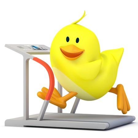 excess: Little chick running on treadmill - 3D render