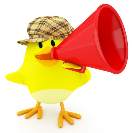 3d chicken: Little chick with a red megaphone - 3d render Stock Photo