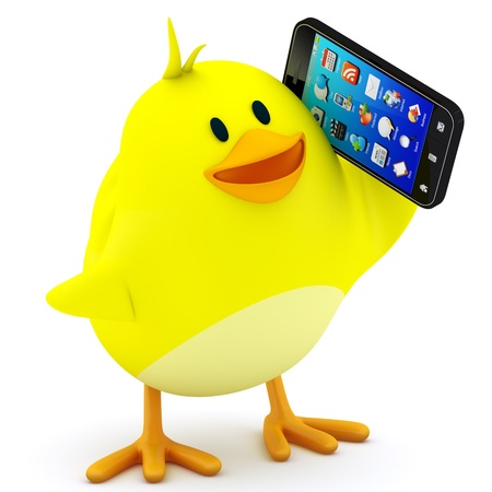 Little chick with smartphone on white - 3D render photo