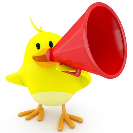 reproach: Little chick with a red megaphone - 3d render Stock Photo