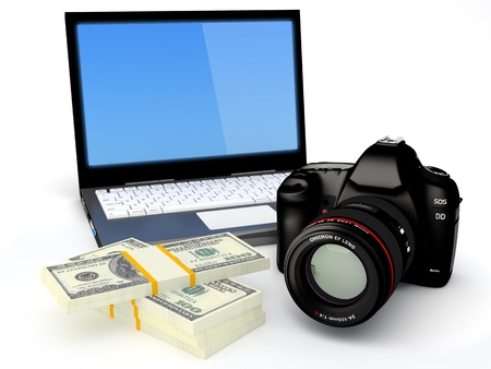 reflex: Selling Photo Concept - Laptop, Digital camera and banknotes on white background - 3D render