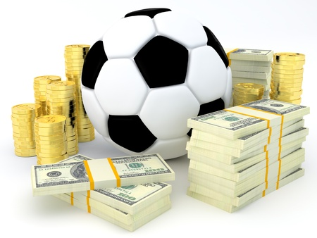 stake: Sports betting concept - Soccer ball with banknotes and coins - 3D render
