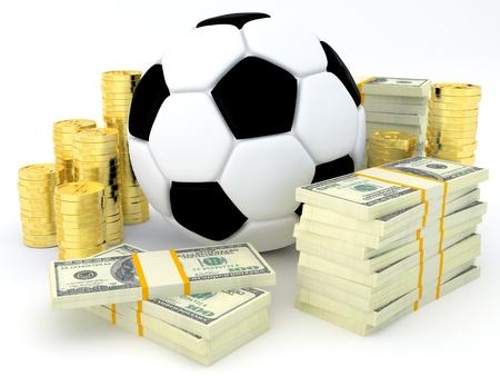 Sportwetten-Konzept - Fußball mit Banknoten und Münzen - 3D render Standard-Bild - 16693449