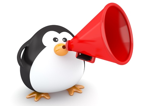 to say: Fat penguin with a red megaphone - 3d render