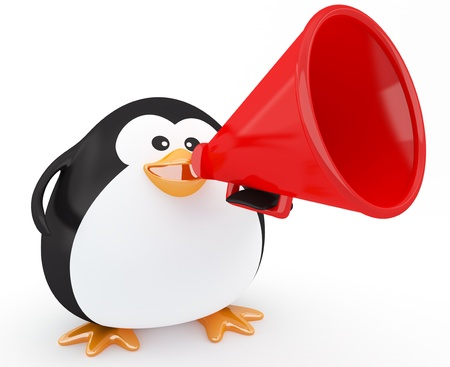 Fat penguin with a red megaphone - 3d render