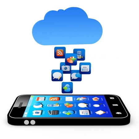 contributor: Smartphone with cloud of application icons  Note: All Devices design and all screen interface graphics in this series are designed by the contributor him self. Stock Photo