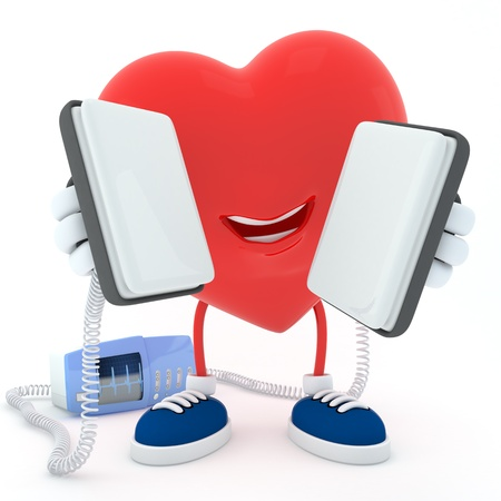 Smily heart keeping defibrillator on white background-  3D render Stock Photo